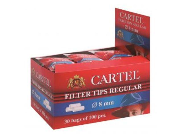Κουτί με 30 φίλτρα Cartel Regular 8mm με 100 φίλτρα το σακουλάκι και φίλτρο 15mm