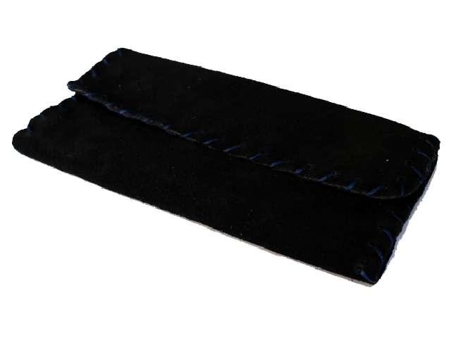 2606 - Καπνοσακούλα δερμάτινη smoka 1300 σουέτ μαύρη μπλε για σακουλάκι καπνού