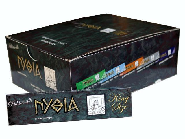 2629 - Κουτί με 60 χαρτάκια στριφτού Πυθία Pithias Silk μαύρο King Size