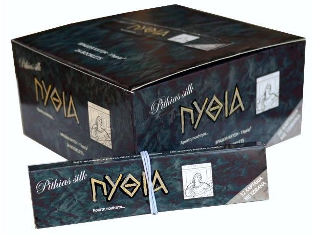 2631 - Κουτί με 24 χαρτάκια στριφτού Πυθία Pithias Silk μαύρο King Size με τζιβάνες