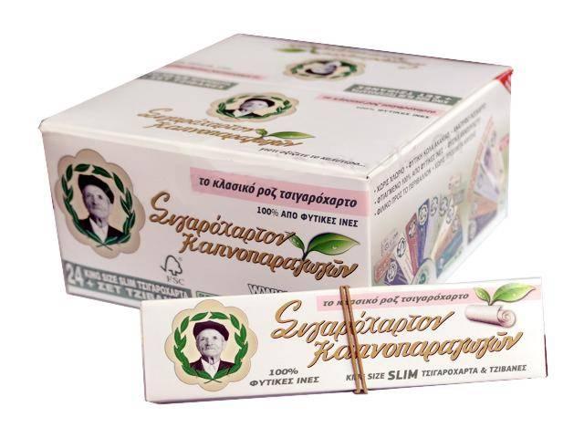 Κουτί με 24 Χαρτάκια του παππού 47585 Ροζ King Size Slim και τζιβάνες