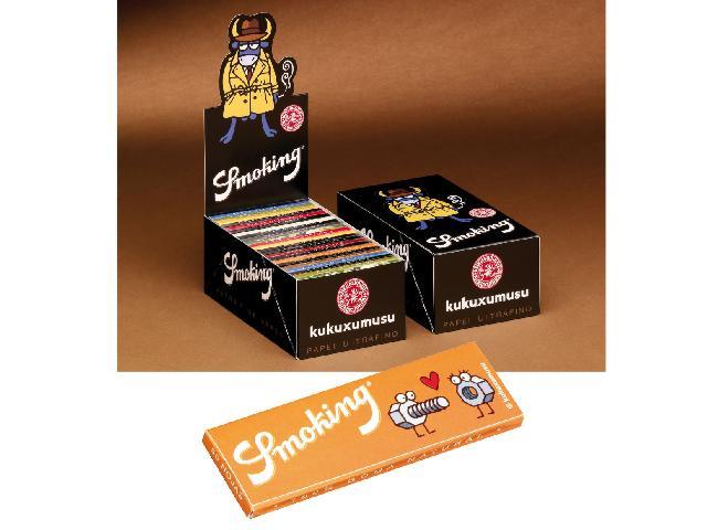 2895 - Κουτί με 50 χαρτάκια στριφτού KUKUXUMUSU by Smoking μεσαίο 78mm (σε 18 σχέδια)
