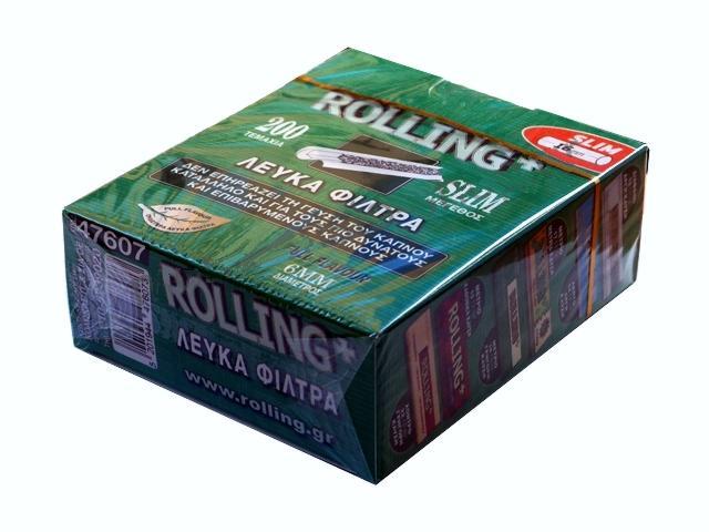 2913 - Φιλτράκια στριφτού Rolling 47607 Slim 6mm 200 τεμάχια λευκά φίλτρα