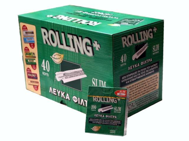 2914 - Κουτί με 40 φιλτράκια στριφτού Rolling 47607 Slim 6mm 200 τεμάχια (τιμή 0.55 το ένα)
