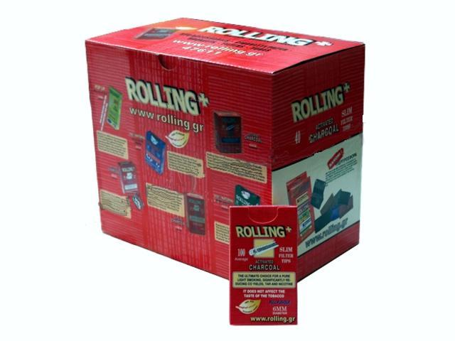 2916 - Κουτί με 40 φιλτράκια στριφτού Rolling 47611 Slim ενεργού άνθρακα 6mm 100 τεμάχια (τιμή 0.58 το ένα)