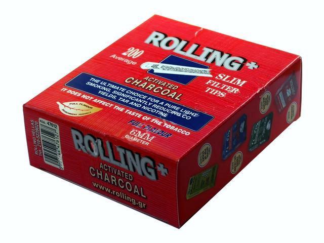 2921 - Φιλτράκια στριφτού Rolling 47612 Slim ενεργού άνθρακα 6mm 200 τεμάχια