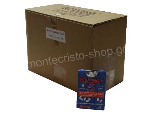 2924 - Κουτί με 40 φιλτράκια στριφτού Rolling 47606 για κανονικό τσιγάρο 8mm 100 τεμάχια (τιμή 0.49 το ένα)
