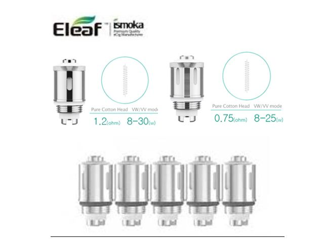 Ανταλλακτικές Κεφαλές & αντιστάσεις ELEAF GS AIR Pure Cotton (0.75ohm & 1.2ohm & 1.5ohm & Ni 0,15) 5 τεμάχια
