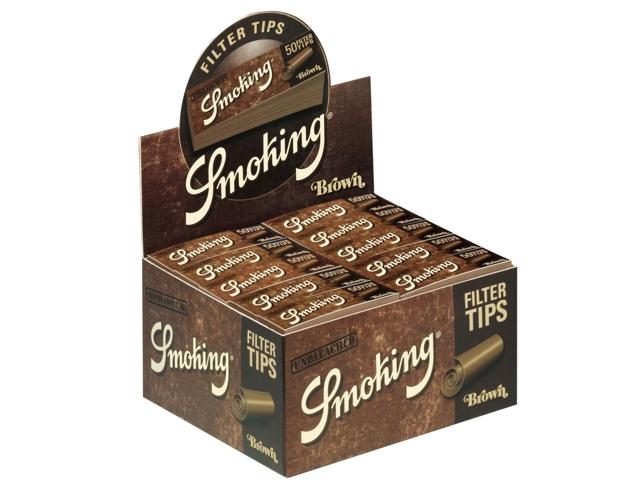 Κουτί με 50 τζιβάνες Smoking Brown tips ακατέργαστες unbleached (τιμή 0.53 η μια)