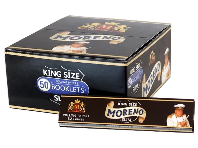 Κουτί με 50 χαρτάκια στιφτού MORENO Black KING SIZE SLIM