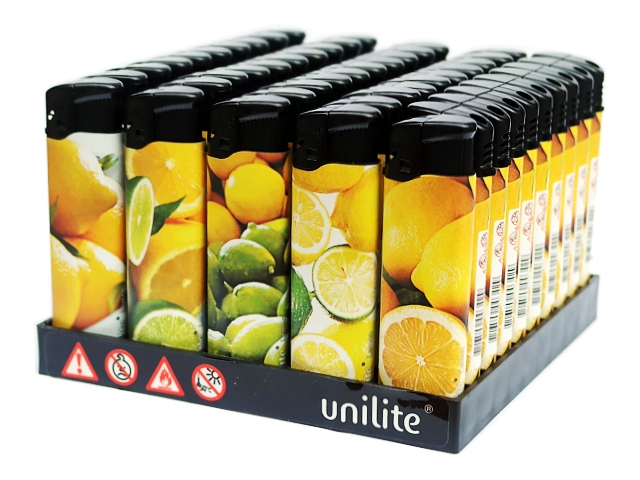 3535 - Κουτί με 50 αρωματικούς αναπτήρες UNILITE LEMON (με άρωμα λεμόνι)