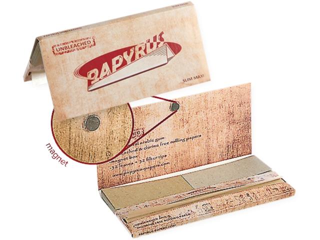 3543 - Χαρτάκια στριφτού King Size Slim Maxi pack Papers + Tips UNBLEACHED ακατέργαστα με μαγνήτη