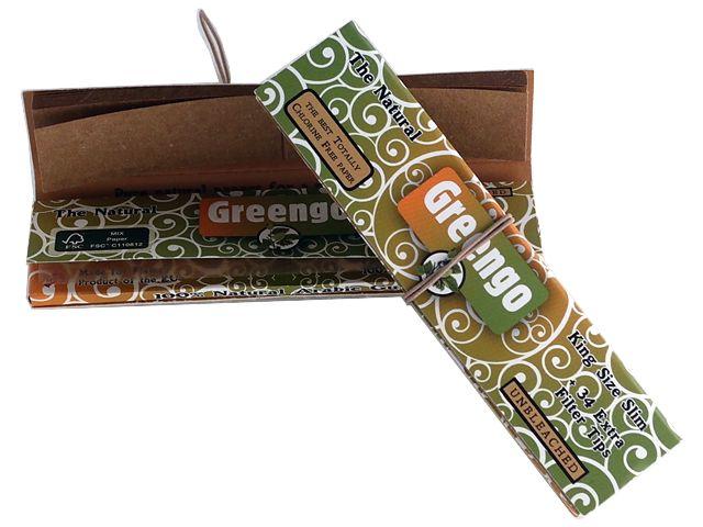 Χαρτάκια στριφτού GREENGO KING SIZE SLIM + 34 Extra Tips UNBLEACHED με τζιβάνες