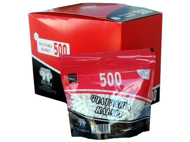 3718 - Κουτί με 10 σακουλάκια φιλτράκια στριφτού DELPH SLIM 6mm 500