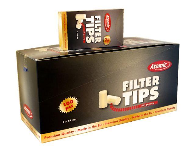 3740 - Κουτί με 20 φιλτράκια για στριφτό Atomic Filter Tips 8mm 100 με κόλλα για κανονικό τσιγάρο