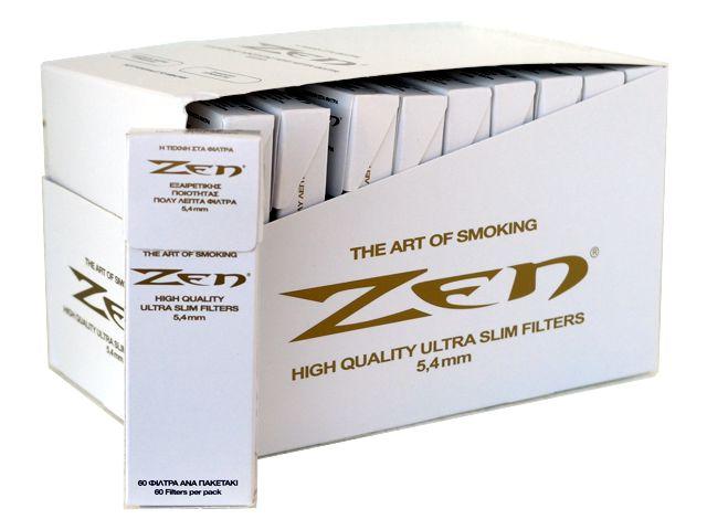 3815 - Κουτί με 30 φιλτράκια στριφτού ZEN extra slim 5.4 (κουτί με 30 λευκά πακετάκια των 60)