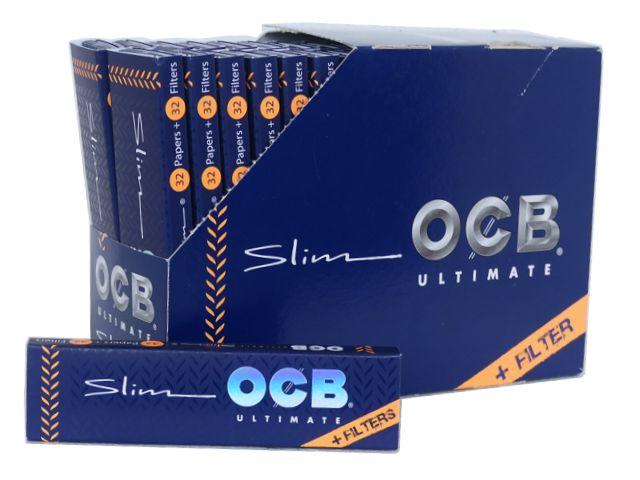 Κουτί με 32 χαρτάκια στριφτού OCB ULTIMATE SLIM King Size + TIPS με τζιβάνες