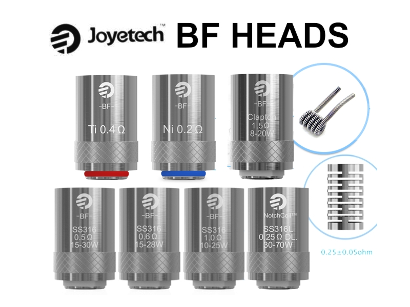5 ανταλλακτικές κεφαλές Joyetech Cubis Pro & AIO (BF SS316 / BF Clapton / NotchCoil 0.25ohm DL / BF Ni / BF Ti) 5 coils