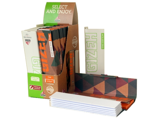 Κουτί με χαρτάκια στριφτού (7 τεμάχια Gizeh King size Duo Pure με τζιβανες και 12 τεμάχια Gizeh King size Super Fine)