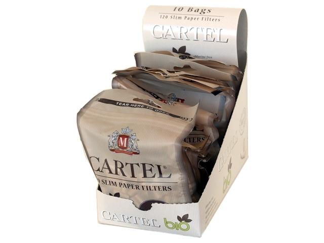Κουτί με 10 σακουλάκια φιλτράκια Cartel BIO Slim 6.0mm Βιοδιασπούμενα με 120 φίλτρα το σακουλάκι