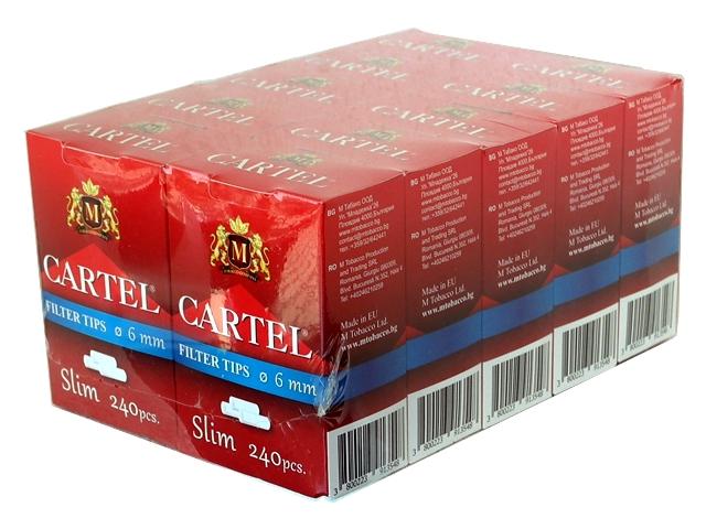 Κουτί με 10 φιλτράκια στριφτού Cartel Slim 6mm με 240 φίλτρα το πακετάκι NEW