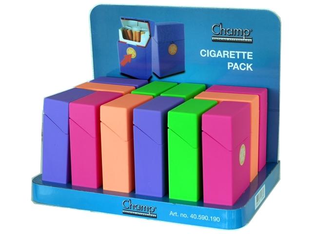Κουτί με 12 πλαστικές θήκες CHAMP Rubber touch Plastic DL-12 για πακέτο 20 τσιγάρων 40590190 (ανοίγει αυτόματα)