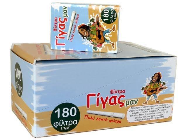 Κουτί με 20 πακετάκια φιλτράκια στριφτού ΓΙΓΑΣ ΜΑΝ extra slim 5.7mm με 180 φίλτρα by ROLL&RULE