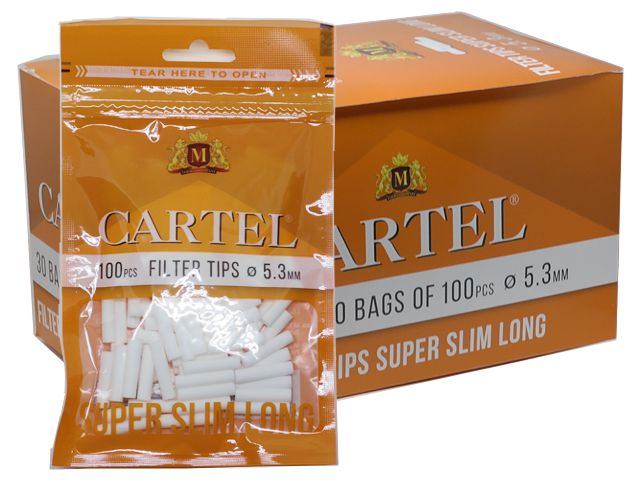 Κουτί με 30 φιλτράκια Cartel Super Slim Long 5.3mm με 100 φίλτρα το σακουλάκι και μακρύ φίλτρο 22mm