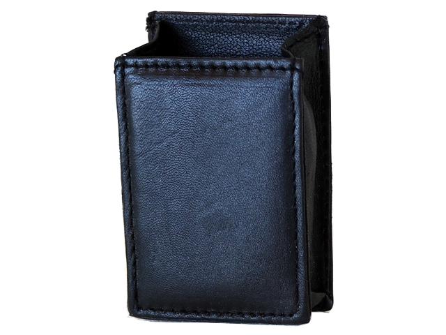4445 - Θήκη από γνήσιο δέρμα PAPAS για μαλακό πακέτο με 20 τσιγάρα ή εκατοστάρι πακέτο - μαύρη - χωρίς καπάκι