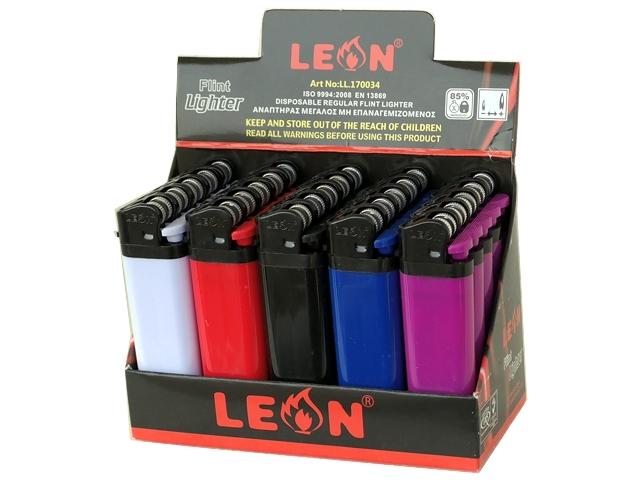 Κουτί με 25 αναπτήρες Leon Regular Lighter Classic Colours 170034 (μεγάλος)