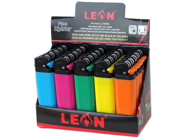 Κουτί με 25 αναπτήρες Leon Regular Lighter Chrome Colours 170041 (μεγάλος)