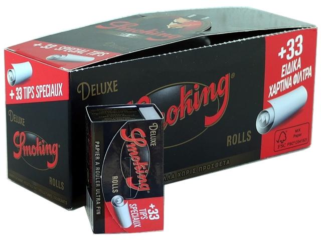 Κουτί με 24 ρολλά για στριφτό Smoking Deluxe + Filter Tips ριζόχαρτο 4 μέτρα (με τζιβάνες)