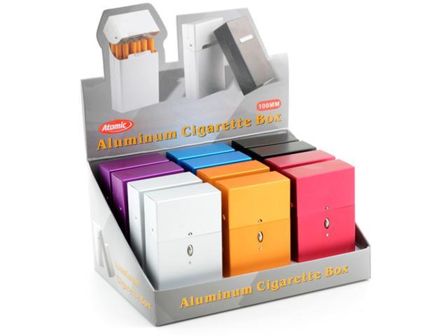 4721 - Κουτί με 12 θήκες από αλουμίνιο ATomic Alubox 100mm Push Open (για εκατοστάρι πακέτο τσιγάρων)