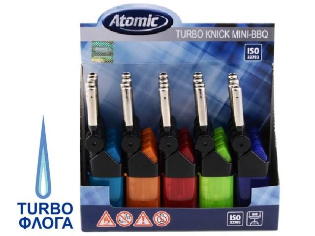 4962 - Κουτί με 20 αναπτήρες αντιανεμικοί Atomic Knick BBQ TURBO Stc 3692600 (με κινούμενο στόμιο) 12.5cm ημιδιάφανος