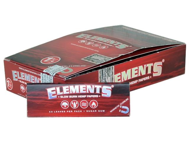 5087 - Κουτί με 25 χαρτάκια στριφτού ELEMENTS RED 1,1/4 SLOW BURN HEMP PAPERS (με μαγνήτη)