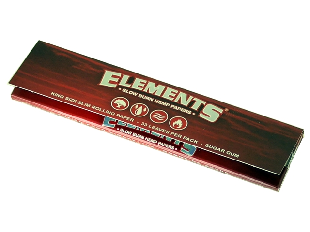 5088 - Χαρτάκια στριφτού ELEMENTS RED 33 King Size SLOW BURN HEMP PAPERS
