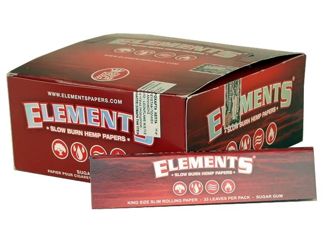 5089 - Κουτί με 50 χαρτάκια στριφτού ELEMENTS RED 33 King Size SLOW BURN HEMP PAPERS