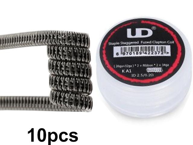 5141 - Προτυλιγμένο σύρμα UD Staggered fuse clapton coil SS316L 26GA+ Ribbon (0.5*0.1)*2+32GA*0.15Ω (10 σύρματα)