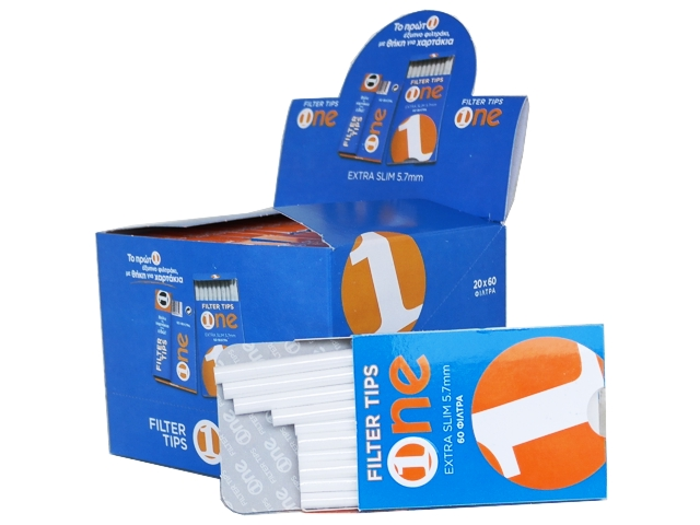 Κουτί με 20 φιλτράκια στριφτού One Extra Slim 60