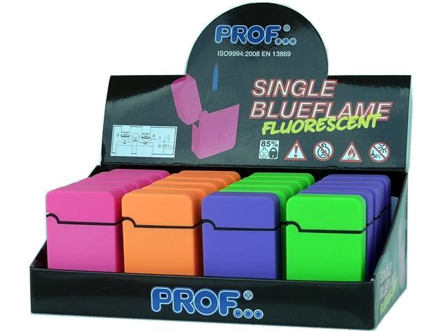 Κουτί με 20 αντιανεμικούς αναπτήρες PROF SINGLE BLUEFLAME FLUORESCENT 4 COLORS JET RUB 40803866