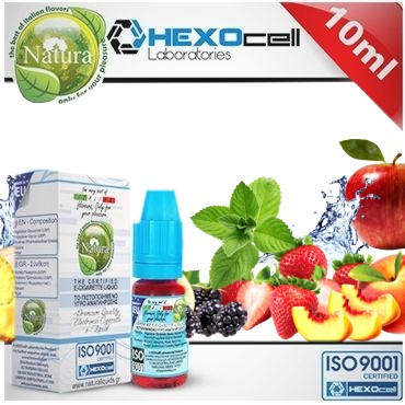 Υγρό αναπλήρωσης Natura FROZEN FOREST FRUITS MIX από την hexocell 10ml (φρούτα & μέντα)