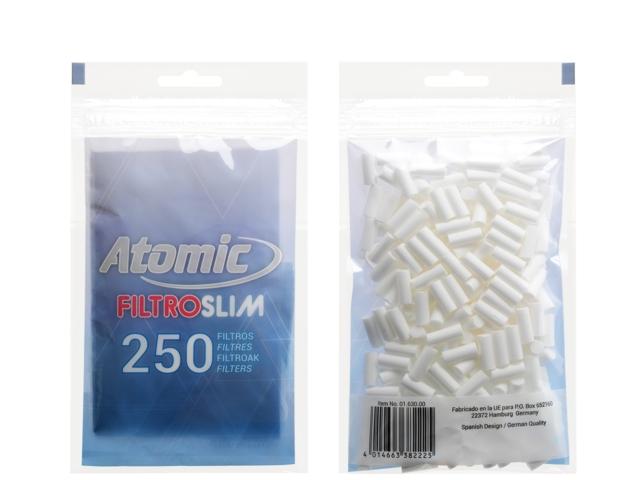 6942 - Φιλτράκια στριφτού Atomic FILTROSLIM 6mm 250 Art 0163000