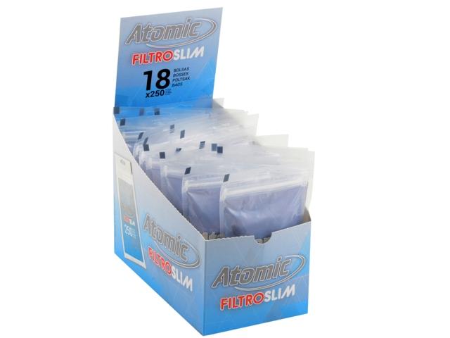 Κουτί με 18 σακουλάκια φιλτράκια στριφτού Atomic FILTROSLIM 6mm 250 Art 0163000