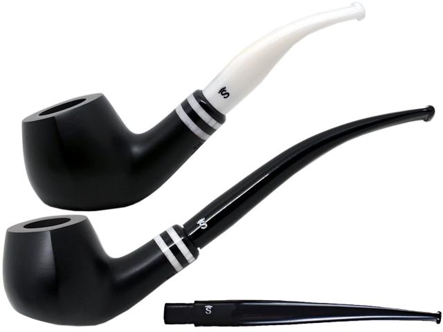6944 - Stanwell Pipe Black & white 402 9mm Black Mat