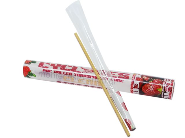 7064 - Cyclones Clear Strawberry Pre Rolled Transperant Cone (φράουλα)