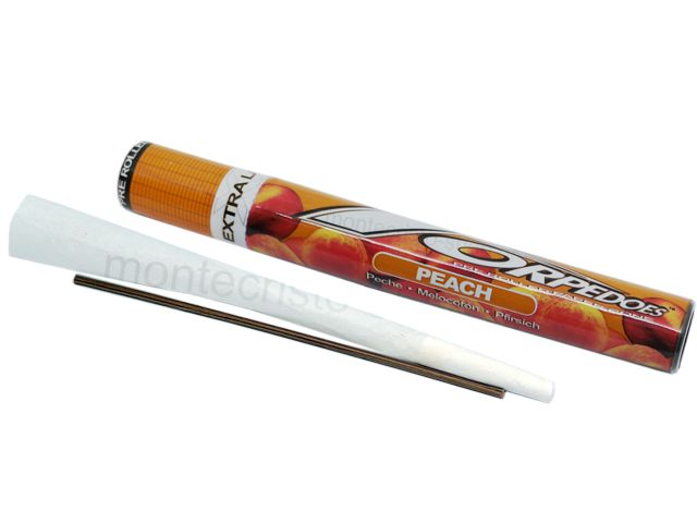 7073 - TORPEDOES Extra Large Size Peach pre rolled paper cone (130mm) ροδάκινο