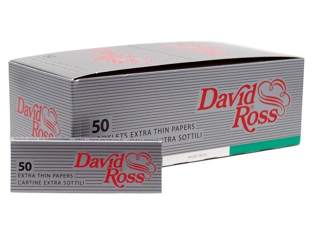 7305 - Κουτί με 50 χαρτάκια στριφτού David Ross Extra Thin (silver)