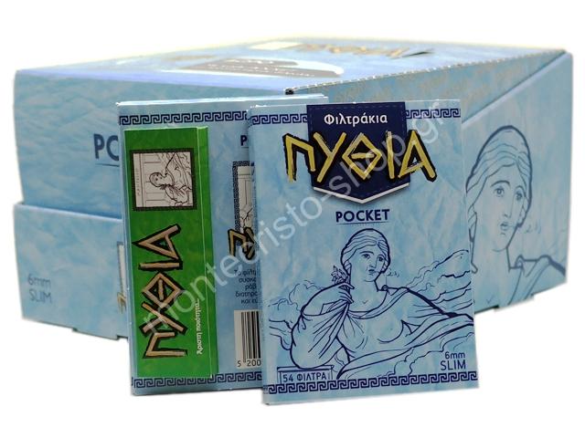 7707 - Κουτί με 24 Φιλτράκια Πυθία POCKET SLIM 6mm 54 & Χαρτάκια Πυθία πράσινα δώρο