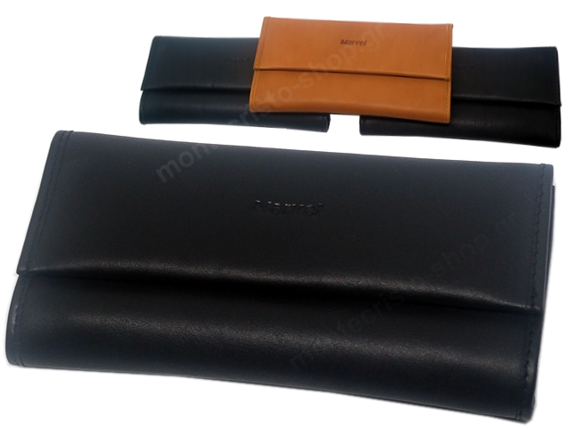 8023 - MARVEL 2721 /06 /10 /02 (μαύρο καφέ ταμπά) δερμάτινη καπνοθήκη