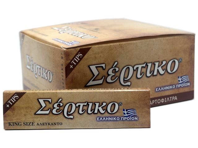 8031 - Κουτί με 24 χαρτάκια στριφτού ΣΕΡΤΙΚΟ ΑΛΕΥΚΑΝΤΟ KING SIZE +TIPS 51096